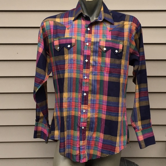 c9cbc9f9 Vintage Rockmount Plaid western shirt pearl snaps.  M_5baaf6e3bb76158bf4880946